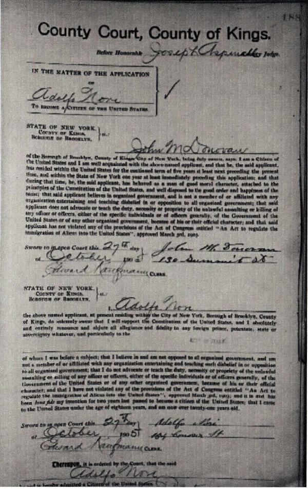Adolph Nori Naturalization Record