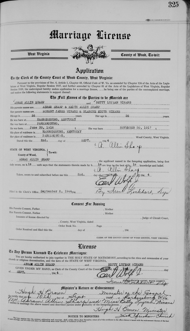 Betty Lujean Winans and Abram Allin Sharp Marriage License