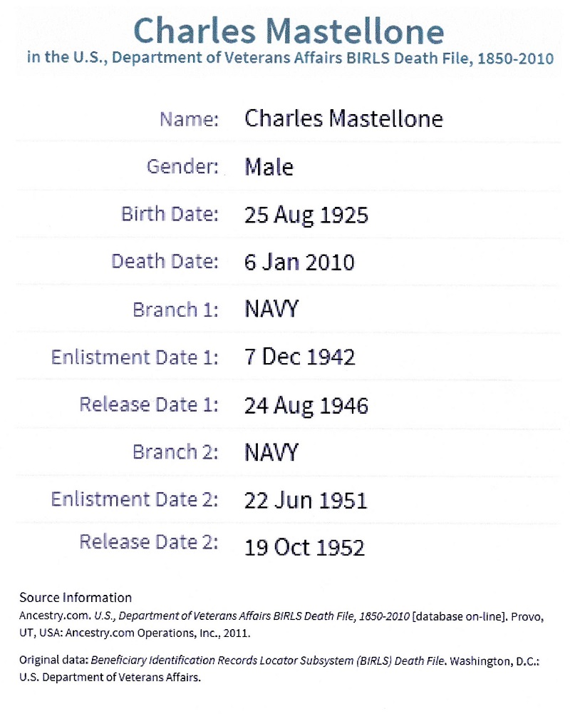 Charles A. Mastellone Jr. Military Records