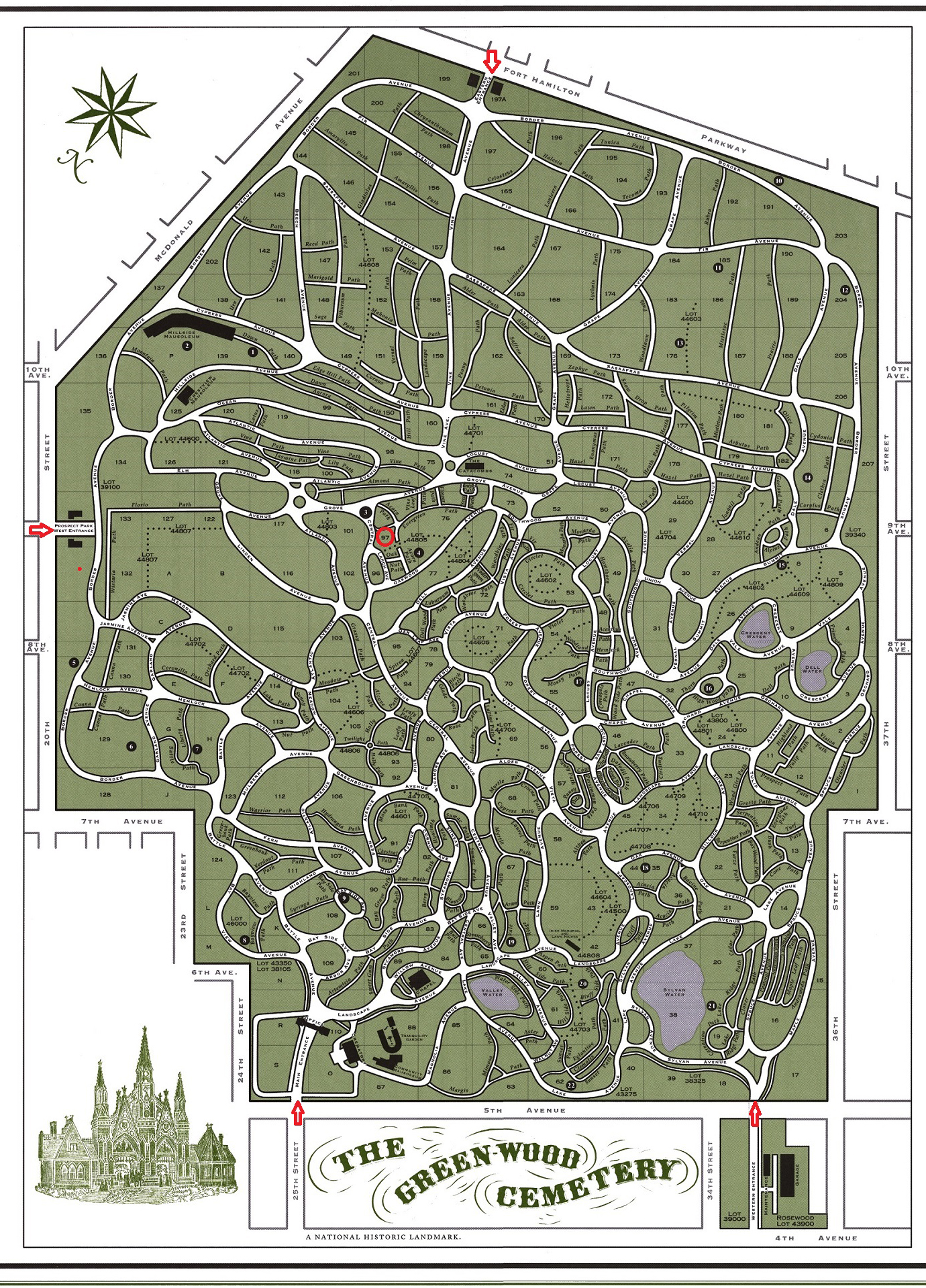 Greenwood Cemetery Map