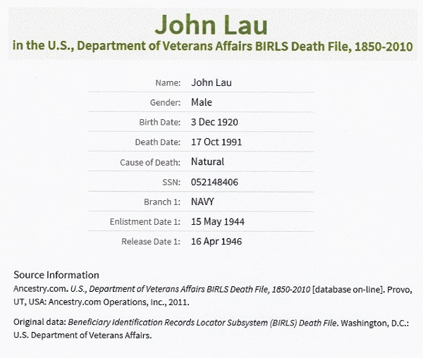 John A. Lau, Sr. Military Record