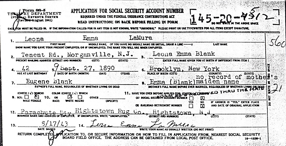 Leona Blanck LaMura Application for U.S. Social Security Card