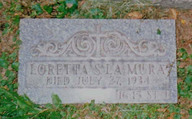 Closeup of Loretta LaMura's Grave at Holy Cross Cemetery