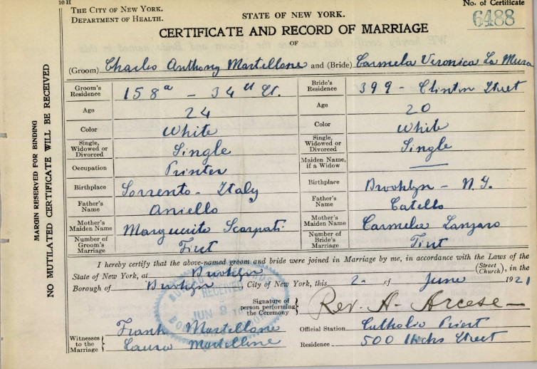 Charles Mastellone and Mildred LaMura Marriage Certificate