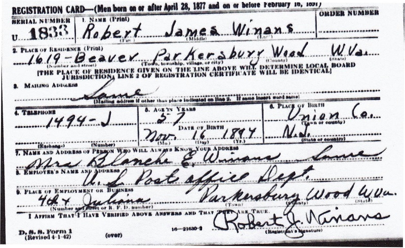 Robert J. Winans Sr. Military Record