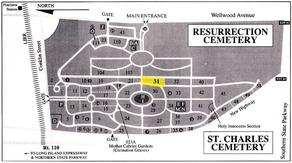 St. Charles Cemetery Map
