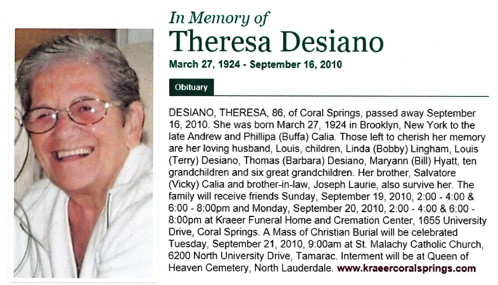 Theresa Calia Desiano Obituary
