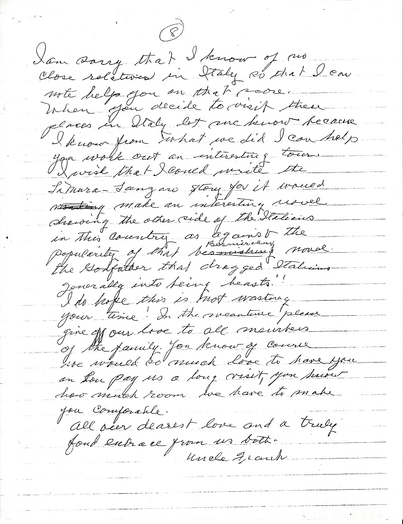 Frank LaMura's Letter Page 8