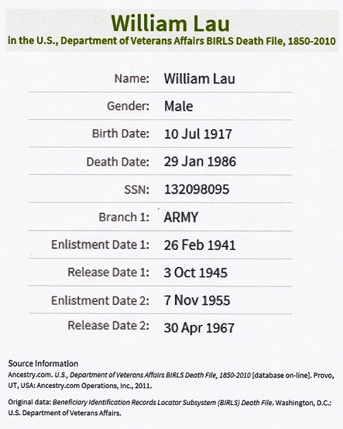 William J. Lau Military Record